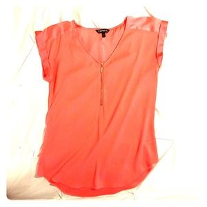 Coral dress zipper detail top 🐚